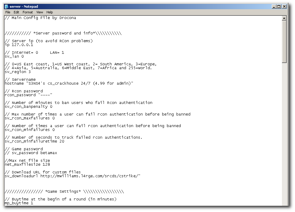 Настройка server.cfg в CS:Source
