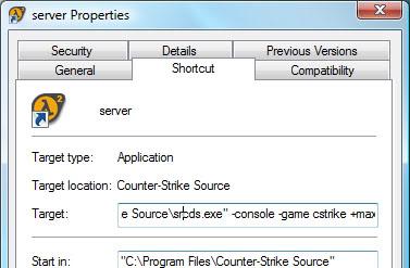 srcds.exe - создание скрипта запуска CSS сервера